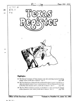 Primary view of object titled 'Texas Register, Volume 8, Number 41, Pages 1961-2012, June 10, 1983'.