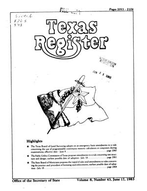 Primary view of object titled 'Texas Register, Volume 8, Number 43, Pages 2053-2104, June 17, 1983'.