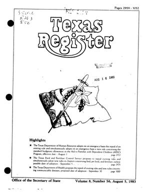 Texas Register, Volume 8, Number 56, Pages 2959-3052, August 5, 1983