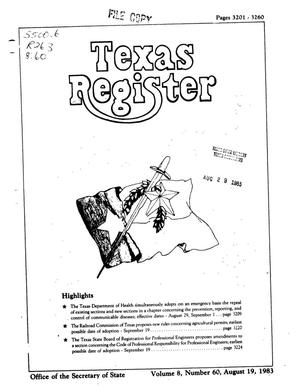 Primary view of object titled 'Texas Register, Volume 8, Number 60, Pages 3201-3260, August 19, 1983'.