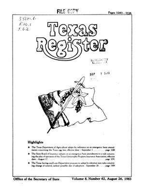 Primary view of object titled 'Texas Register, Volume 8, Number 62, Pages 3283-3336, August 26, 1983'.