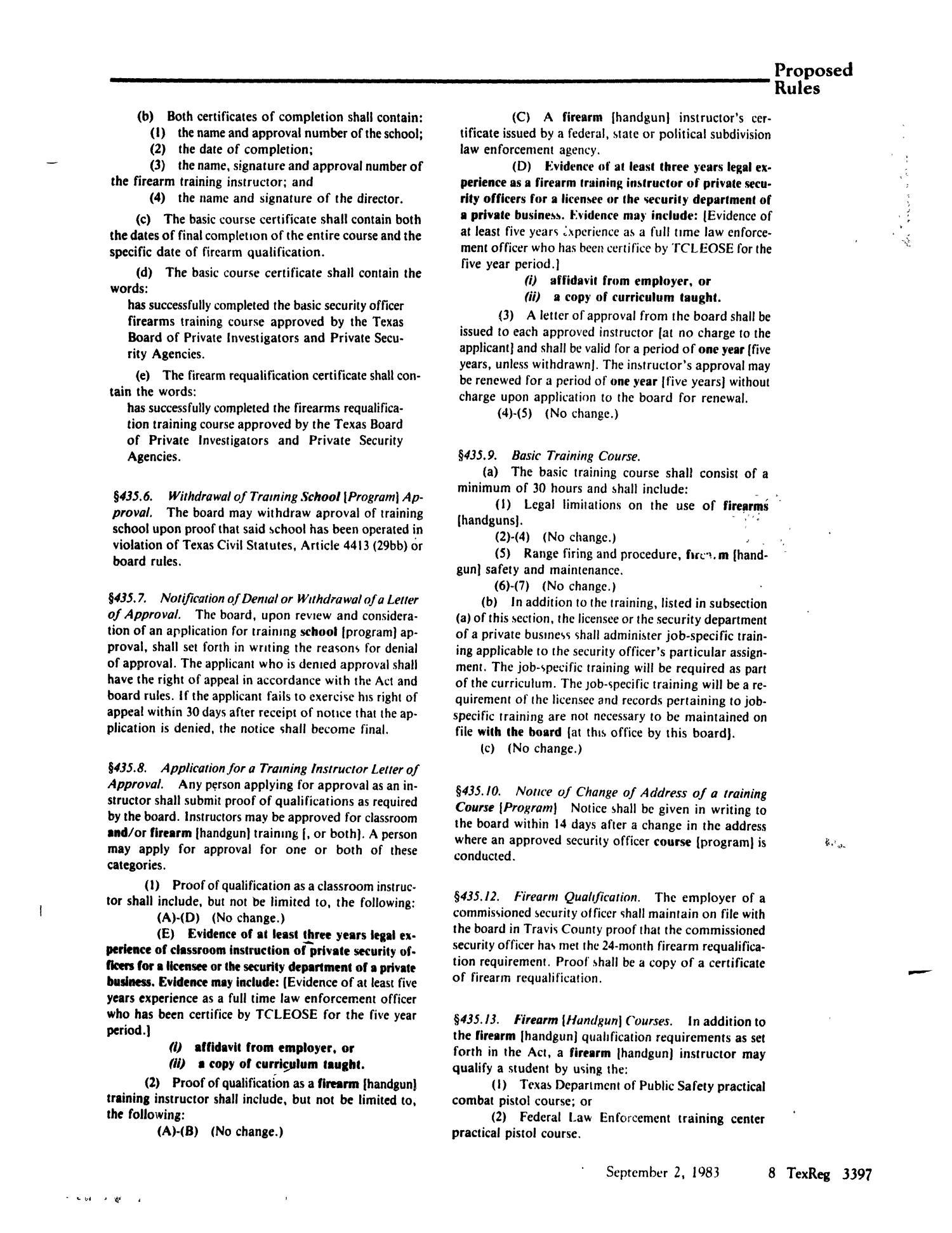 Texas Register Volume 8 Number 64 Pages 3371 3436 September 2