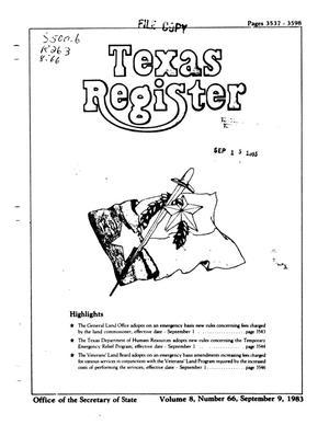 Primary view of object titled 'Texas Register, Volume 8, Number 66, Pages 3537-3598, September 9, 1983'.