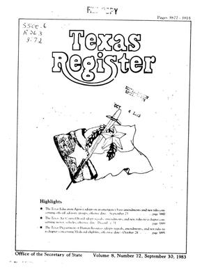 Primary view of object titled 'Texas Register, Volume 8, Number 72, Pages 3877-3914, September 30, 1983'.