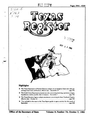 Primary view of object titled 'Texas Register, Volume 8, Number 74, Pages 3941-4046, October 7, 1983'.