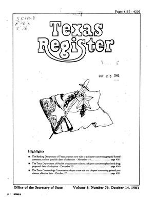 Primary view of object titled 'Texas Register, Volume 8, Number 76, Pages 4157-4202, October 14, 1983'.