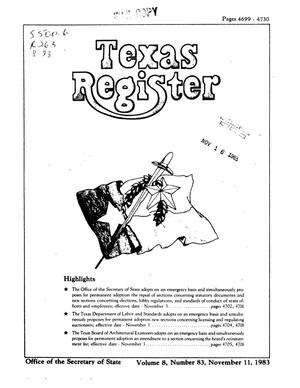 Primary view of object titled 'Texas Register, Volume 8, Number 83, Pages 4699-4730, November 11, 1983'.