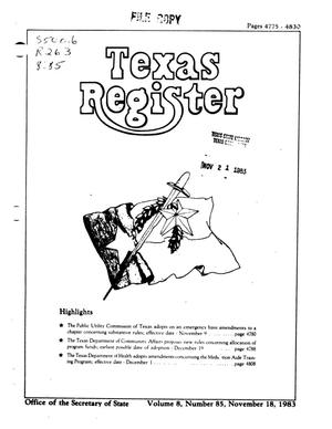 Primary view of object titled 'Texas Register, Volume 8, Number 85, Pages 4775-4830, November 18, 1983'.