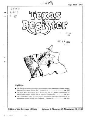 Primary view of object titled 'Texas Register, Volume 8, Number 87, Pages 4873-4956, November 25, 1983'.