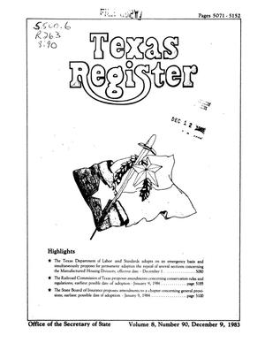 Primary view of object titled 'Texas Register, Volume 8, Number 90, Pages 5071-5152, December 9, 1983'.