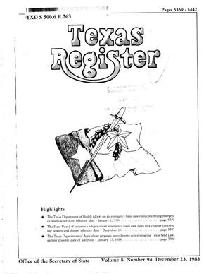 Primary view of object titled 'Texas Register, Volume 8, Number 94, Pages 5369-5442, December 23, 1983'.