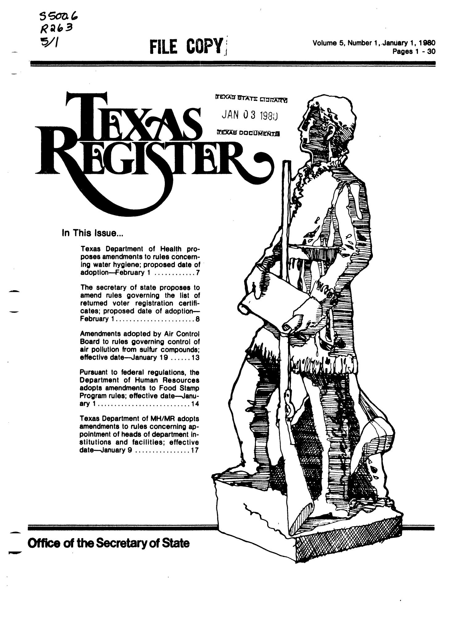 Texas Register, Volume 5, Number 1, Pages 1-30, January 1, 1980                                                                                                      Title Page