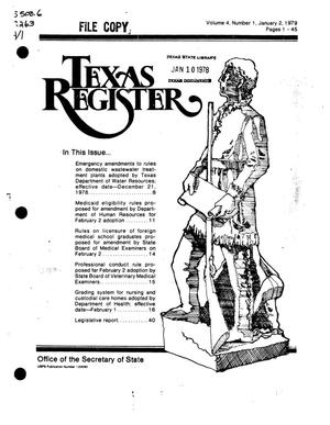 Primary view of object titled 'Texas Register, Volume 4, Number 1, Pages 1-45, January 2, 1979'.