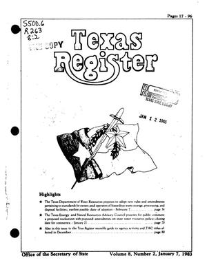 Primary view of object titled 'Texas Register, Volume 8, Number 2, Pages 17-96, January 7, 1983'.