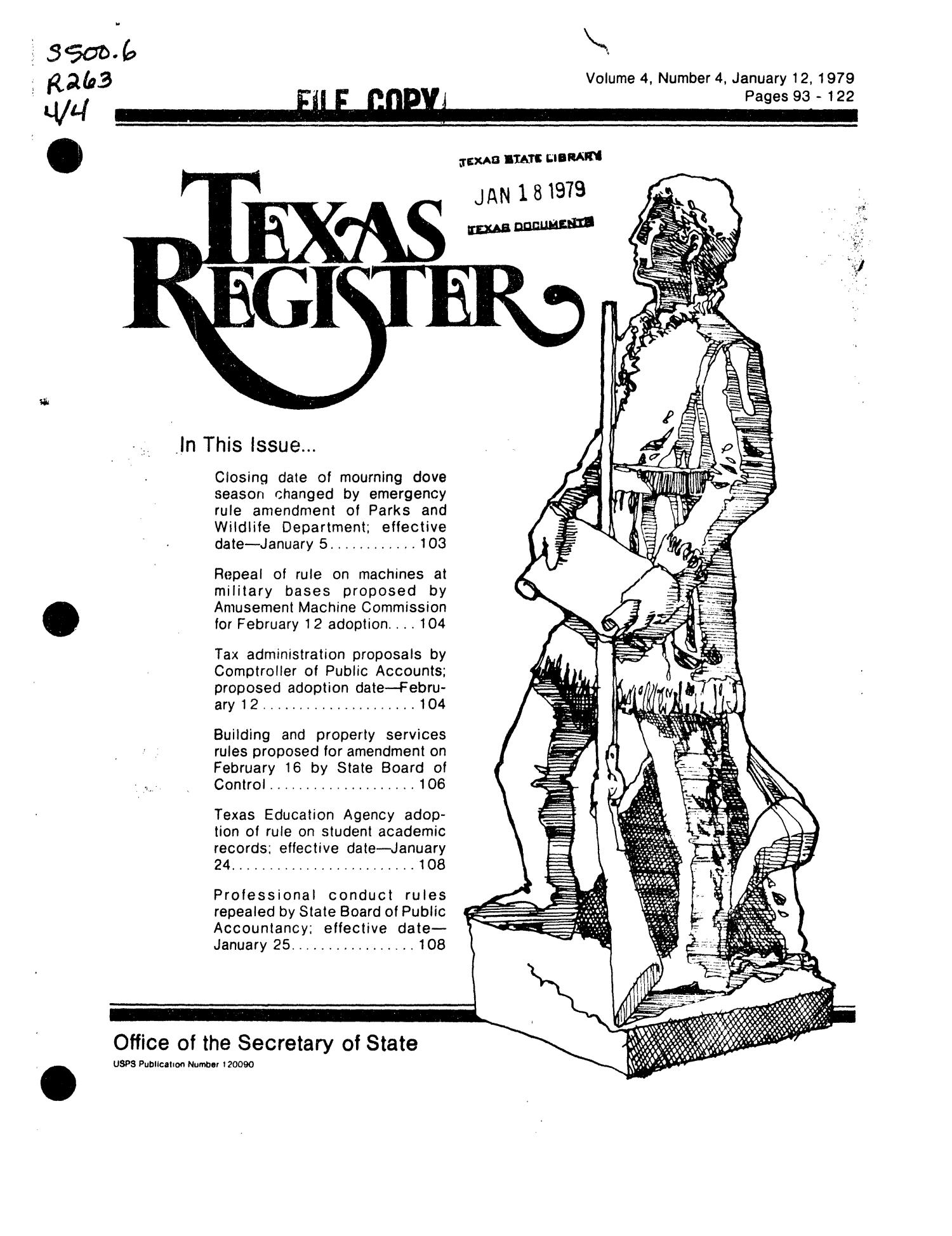 Texas Register, Volume 4, Number 4, Pages 93-122, January 12, 1979                                                                                                      Title Page