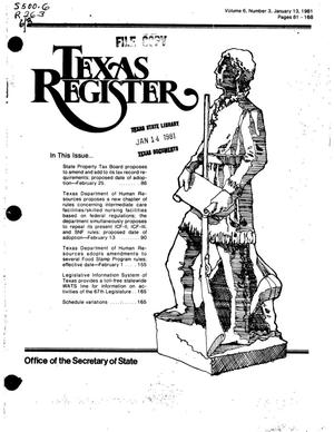 Primary view of object titled 'Texas Register, Volume 6, Number 3, Pages 81-168, January 13, 1981'.