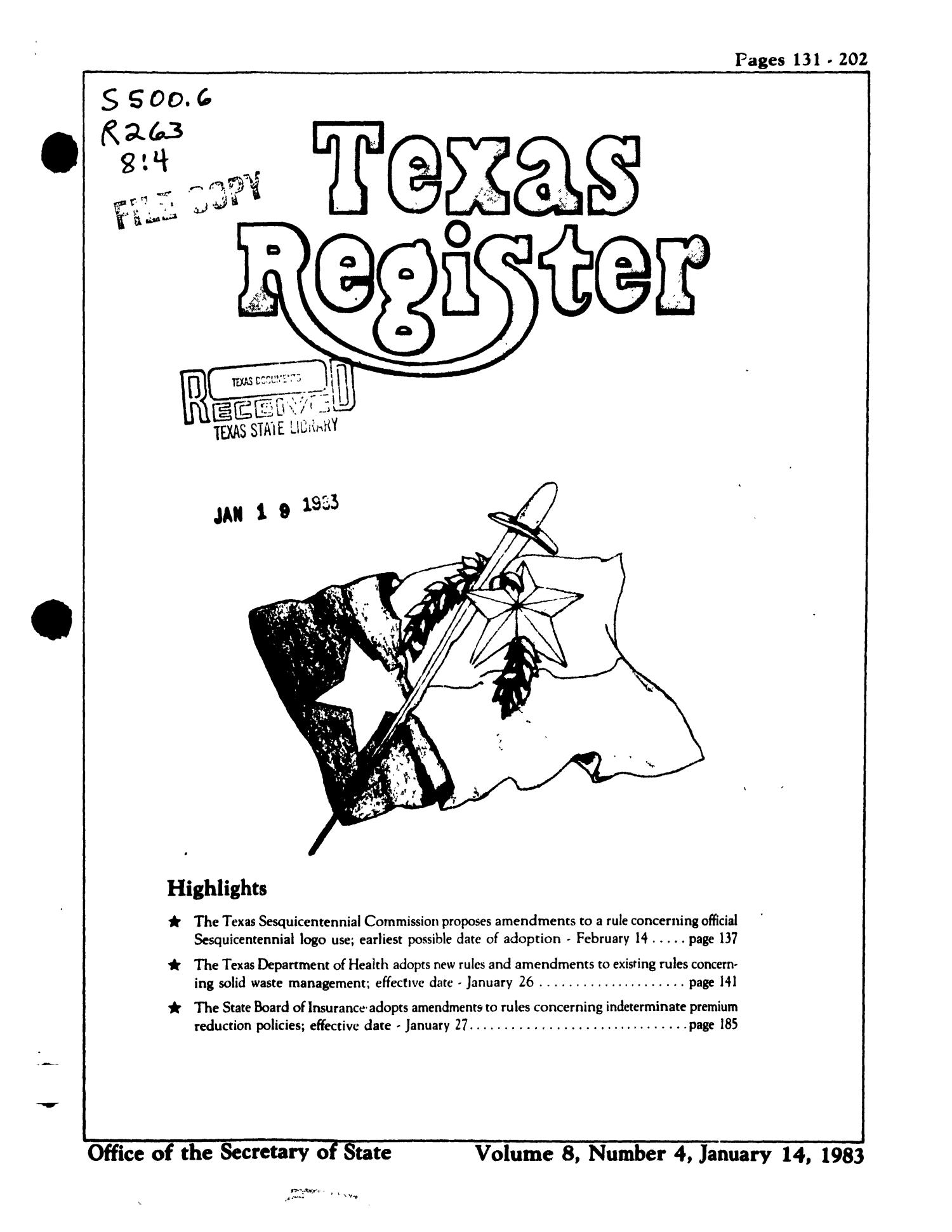 Texas Register, Volume 8, Number 4, Pages 131-202, January 14, 1983                                                                                                      Title Page