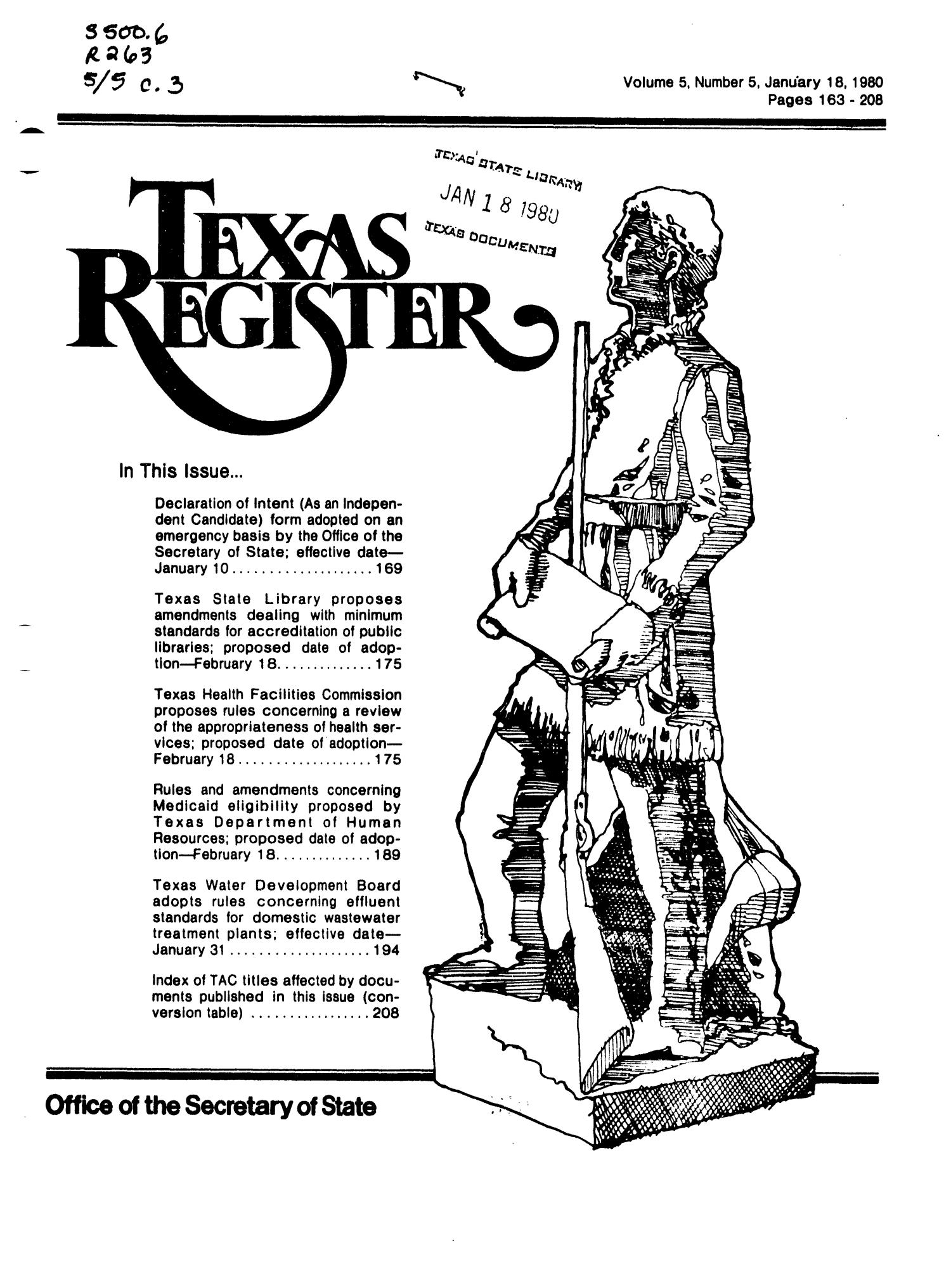 Texas Register, Volume 5, Number 5, Pages 163-206, January 18, 1980                                                                                                      Title Page