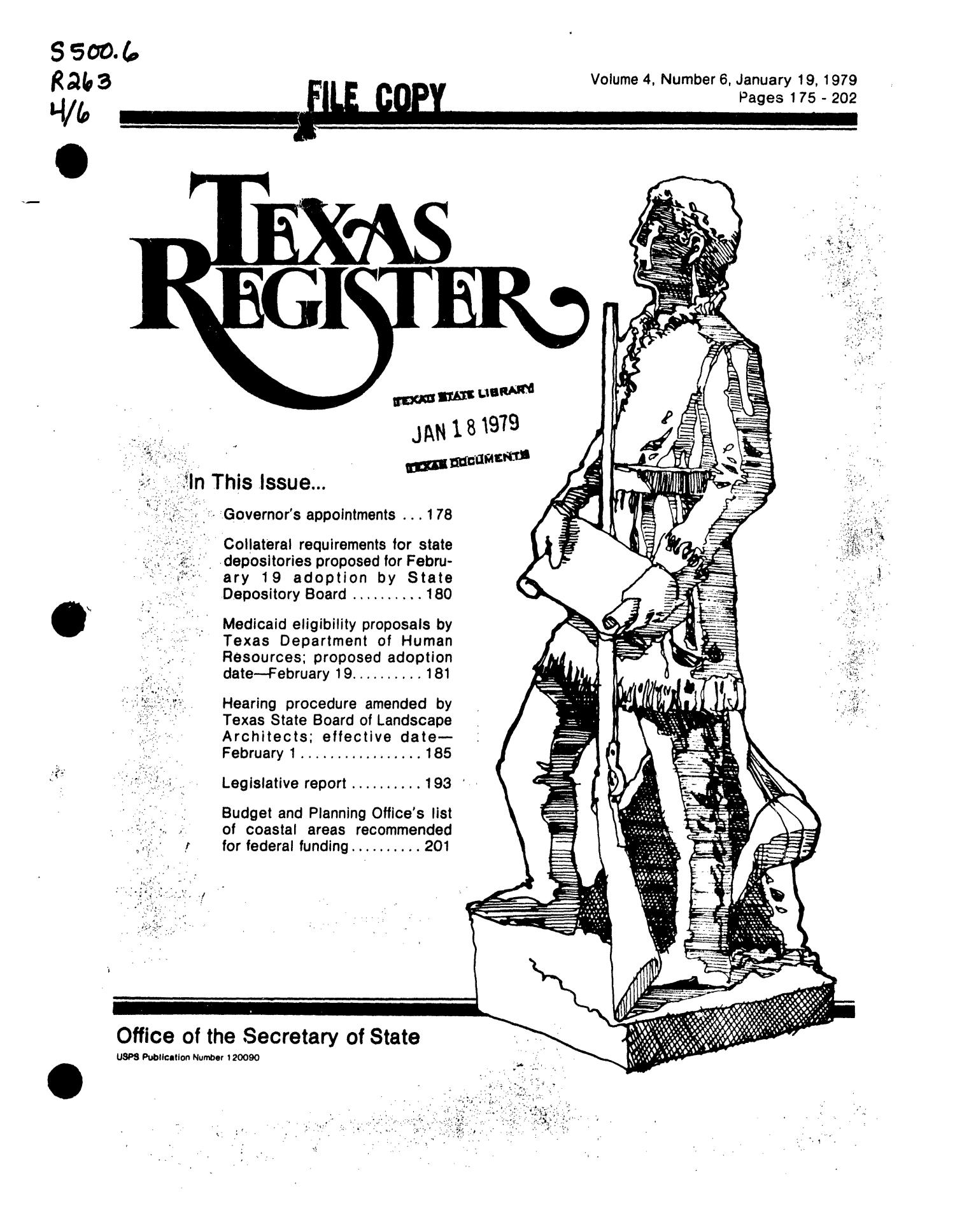 Texas Register, Volume 4, Number 6, Pages 175-202, January 19, 1979                                                                                                      Title Page