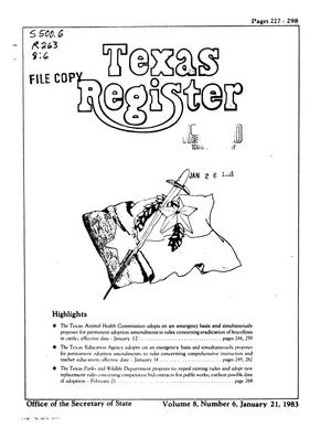 Primary view of object titled 'Texas Register, Volume 8, Number 6, Pages 227-298, January 21, 1983'.
