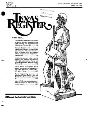 Primary view of object titled 'Texas Register, Volume 5, Number 7, Pages 253-296, January 25, 1980'.