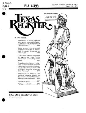Primary view of object titled 'Texas Register, Volume 4, Number 8, Pages 233-276, January 26, 1979'.