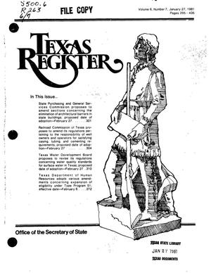 Primary view of object titled 'Texas Register, Volume 6, Number 7, Pages 295-435, January 27, 1981'.