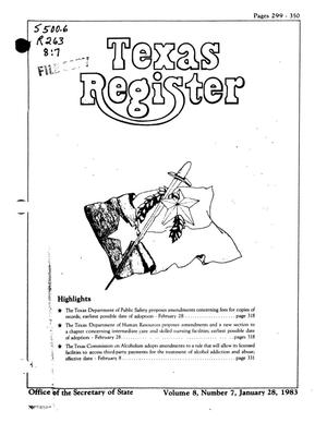 Primary view of object titled 'Texas Register, Volume 8, Number 7, Pages 299-350, January 28, 1983'.
