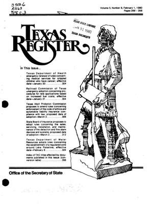 Primary view of object titled 'Texas Register, Volume 5, Number 8, Pages 299-358, February 1, 1980'.