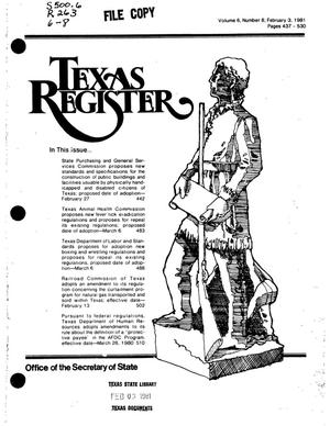 Primary view of object titled 'Texas Register, Volume 6, Number 8, Pages 437-530, February 3, 1981'.