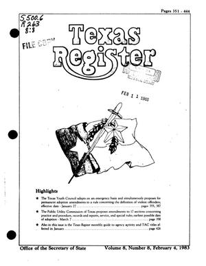 Primary view of object titled 'Texas Register, Volume 8, Number 8, Pages 351-444, February 4, 1983'.