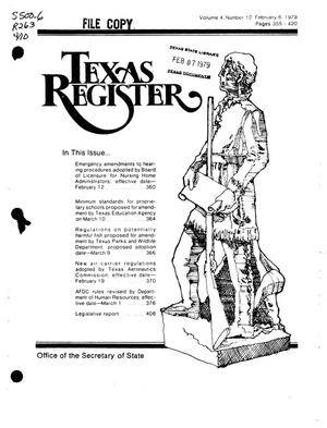 Texas Register, Volume 4, Number 10, Pages 355-420, February 6, 1979