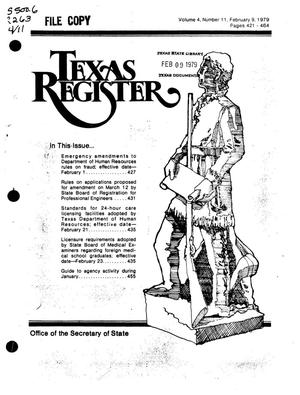 Primary view of object titled 'Texas Register, Volume 4, Number 11, Pages 421-164, February 9, 1979'.