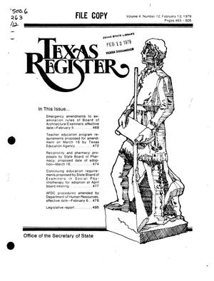 Primary view of object titled 'Texas Register, Volume 4, Number 12, Pages 465-505, February 13, 1979'.