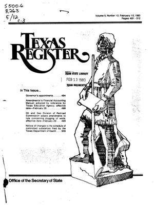 Primary view of object titled 'Texas Register, Volume 5, Number 12, Pages 491-512, February 15, 1980'.
