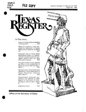 Primary view of object titled 'Texas Register, Volume 4, Number 14, Pages 541-586, February 20, 1979'.