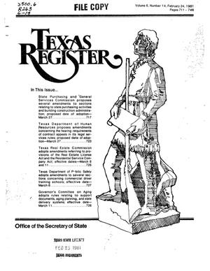 Primary view of object titled 'Texas Register, Volume 6, Number 14, Pages 711-746, February 24, 1981'.