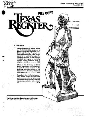 Primary view of object titled 'Texas Register, Volume 6, Number 16, Pages 795-816, March 3, 1981'.