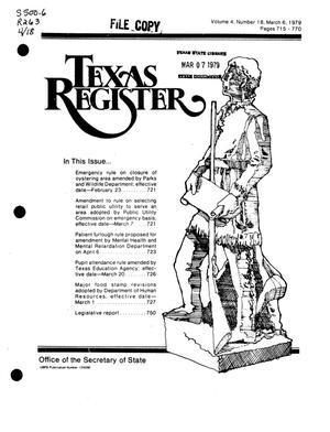 Primary view of object titled 'Texas Register, Volume 4, Number 18, Pages 715-770, March 6, 1979'.