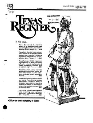 Primary view of object titled 'Texas Register, Volume 5, Number 18, Pages 835-890, March 7, 1980'.
