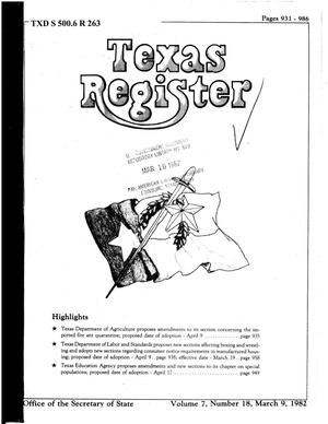 Primary view of object titled 'Texas Register, Volume 7, Number 18, Pages 931-986, March 9, 1982'.