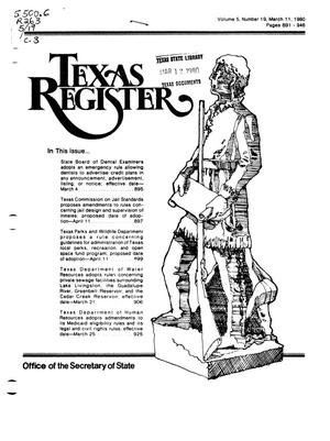 Primary view of object titled 'Texas Register, Volume 5, Number 19, Pages 891-946, March 11, 1980'.