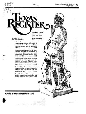 Primary view of object titled 'Texas Register, Volume 5, Number 22, Pages 1061-1104, March 21, 1980'.