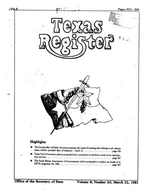 Primary view of object titled 'Texas Register, Volume 8, Number 20, Pages 953-968, March 22, 1983'.