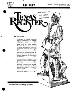 Primary view of object titled 'Texas Register, Volume 4, Number 23, Pages 1041-1094, March 27, 1979'.