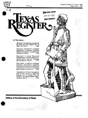 Primary view of object titled 'Texas Register, Volume 5, Number 27, Pages 1363-1394, April 8, 1980'.