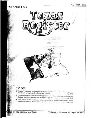 Primary view of object titled 'Texas Register, Volume 7, Number 27, Pages 1437-1496, April 9, 1982'.
