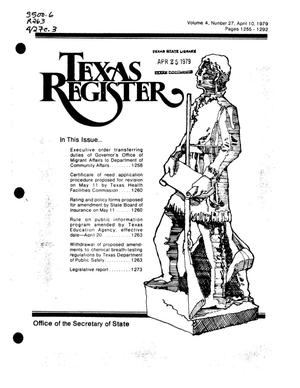 Primary view of object titled 'Texas Register, Volume 4, Number 27, Pages 1255-1292, April 10, 1979'.