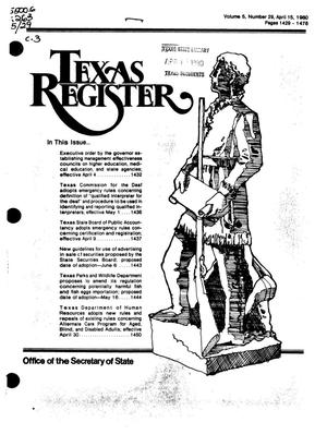 Primary view of object titled 'Texas Register, Volume 5, Number 29, Pages 1429-1478, April 15, 1980'.