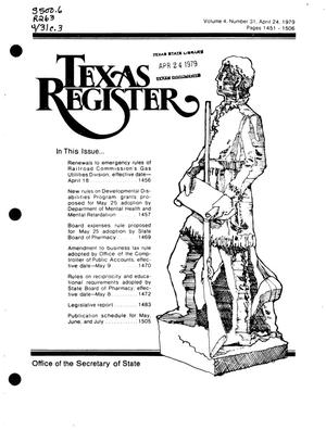 Primary view of object titled 'Texas Register, Volume 4, Number 31, Pages 1451-1506, April 24, 1979'.